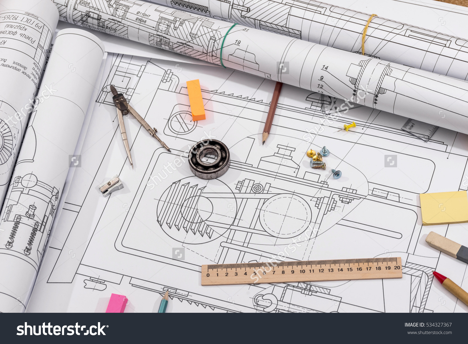 stock-photo-workplace-technical-project-drawing-with